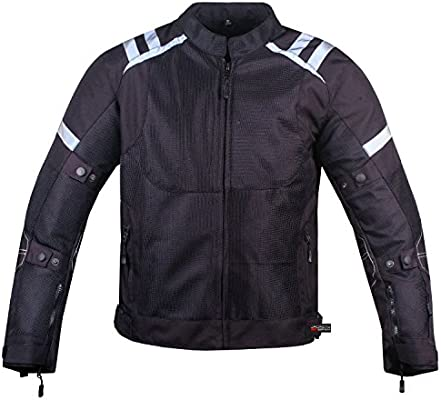 Mens Storm Mesh Summer Armored Reflective Waterproof Black Motorcycle Jacket
