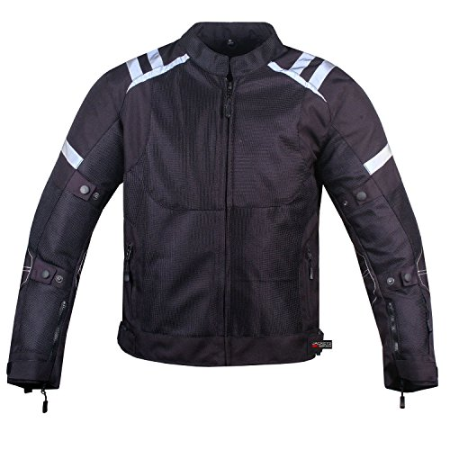 Mens Storm Mesh Summer Armored Reflective Waterproof Black Motorcycle Jacket M by Jackets 4 Bikes