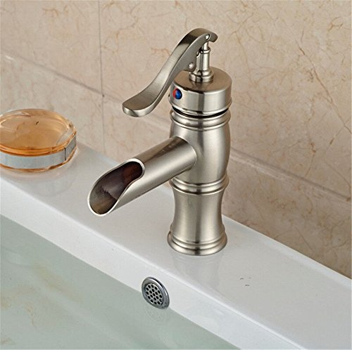 Dayanand Sink Faucet Waterfall Spout Bathroom Sink Faucet Antique Copper Basin Mixer Tap The waterfall bathroom vessel sink with faucet deck hill small hot and cold water taps ()