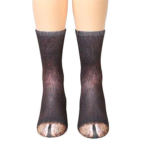 Unisex Funky Socks Hosamtel Animal Paw 3D Printing Sublimated All Over Crew Socks for Man Women Girl Boy (Donkey)