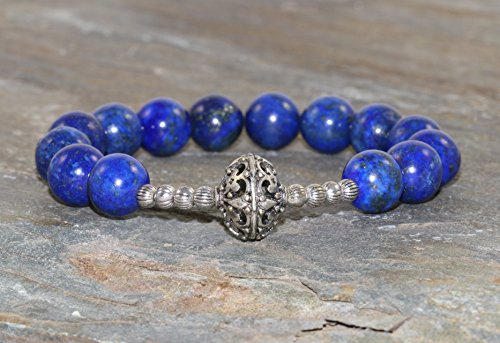 Durga Warrior Gemstone Stack, Yoga Mala Beads, Healing Crystals, Lapis Lazuli Bracelet, Goddess of Protection & Inner Strength ()