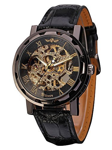 Mudder Men's Mechanical Elegant Skeleton Dial Wrist Watch, Black 3