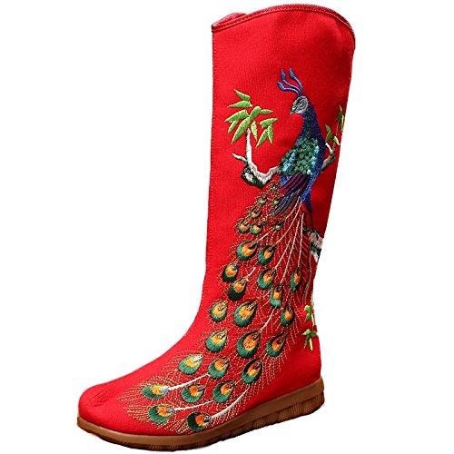 KHSKX-Red Dichotomanthes Bestickte Boots Peacock Bestickt Folk Niedrige Dokumentarischen Stil Casual Reißverschluss Stiefel Forty