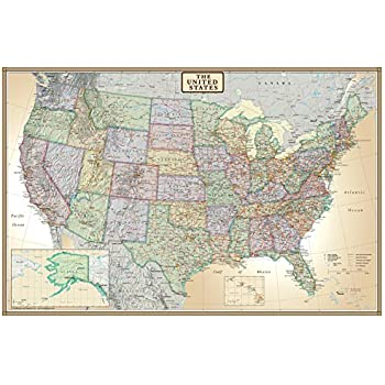 Amazoncom X United States USA US Executive Wall Map Poster - Us paper map