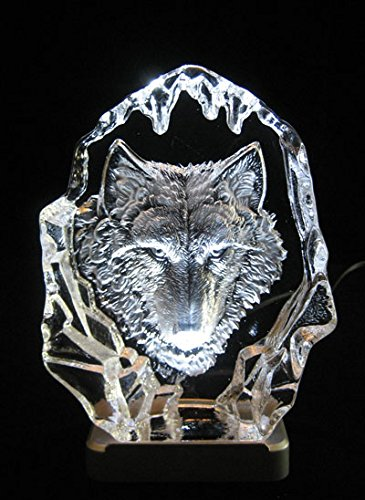 Engraved lead crystal Wolf Head on white LED light base