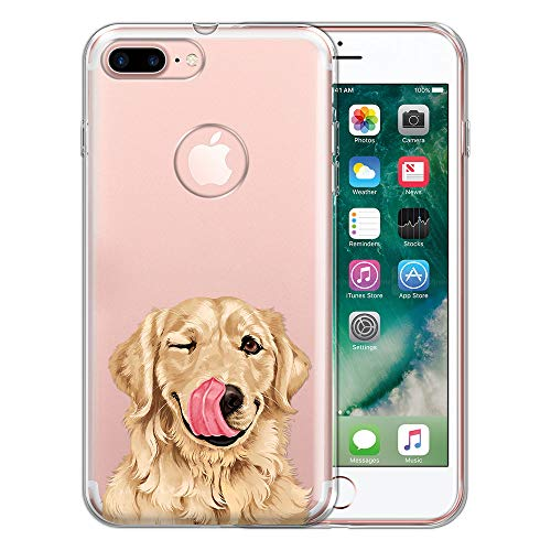 FINCIBO Case Compatible with Apple iPhone 7 Plus/iPhone 8 Plus, Clear Transparent TPU Protector Case Cover Gel for iPhone 7 Plus / 8 Plus (NOT FIT iPhone 7/8) - Cute - Iphone Retriever Golden
