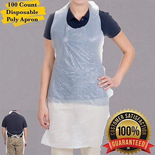 - MM Foodservice Disposable White Poly Aprons, 24 Inch x 42 Inch Aprons, Perfect for Cooking, Cleaning, Painting, Arts and Crafts (100)