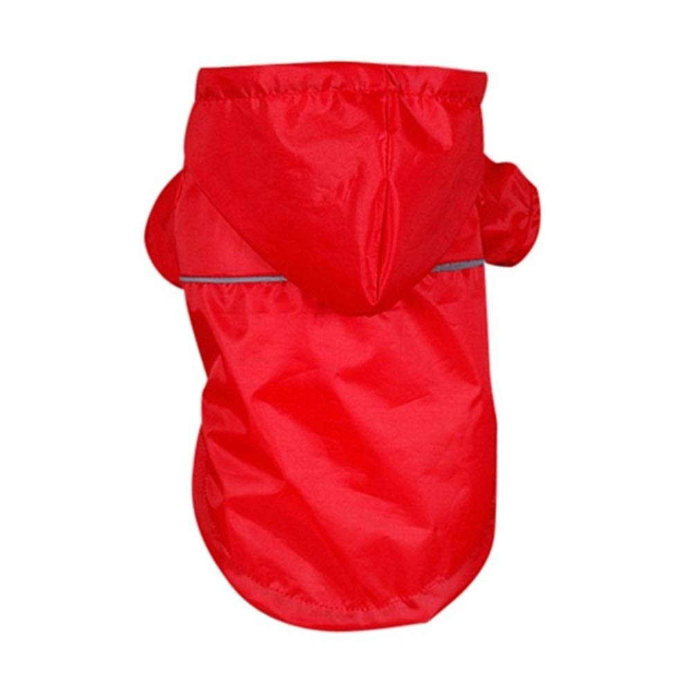 LovelyPet Pet PU Reflective Raincoat Summer Hooded Rain Coat Outdoor Waterproof Jackets Clothes for Small Large Dogs Cats Puppy Kitten (Color : Red, Size : S)