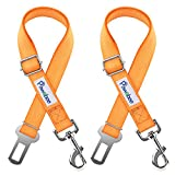 Pawaboo Pet Car Seat Belt, 2 Packs Universal Adjustable Durable Nylon Safety Leash Leads Vehicle Auto Seatbelt Harness Travel Strap with Safe Buckle for Dog Cat, Large Size(19.68-32.28 inch), Orange