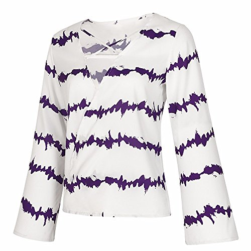 Violet V Tops Imprim Femme Femme Longue Shirt Col Manche Femme et Taille Casual Blouse Shirt Weant Chemise Blouse Rayures Tee Chemisiers Blouses Grande vqz61B
