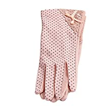 Baiyu 1 Pair Summer Women Lady Girl Sun UV Protection Short Gloves Cotton Thin Lace Dots Outdoor Driving Mittens One Size (Beige/Black/Grey/Pink)