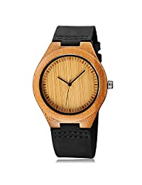CUCOL Mens Wooden Watches Black Cowhide Leather Strap Japanese Quartz Movement with Gift Box Groomsmen