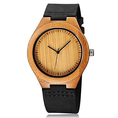 CUCOL Mens Wooden Watches Black Cowhide  - Leather Strap Quartz Movement Shopping Results
