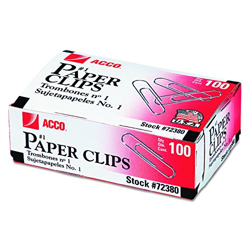 ACCO Paper Clips, Economy, Smooth, #1 Size, 100/Box, 10 Boxes (A7072380) by ACCO Brands ()