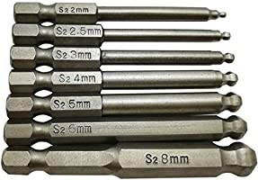 Wolfride 5pcs ball end hex shank screwdriver bit set ball end drill bit magnetic with 1//4 Inch Hex Shank 100mm Length 2.5mm 3mm 4mm 5mm 6mm
