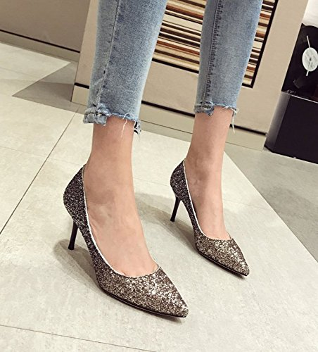 Tip Yellow Fine Heeled 35 High Bridesmaids A Work MDRW Leisure Lady Elegant Shoes 5Cm Shoes Shoes Sequins 7 All With Spring Match OSS6Rxzn1
