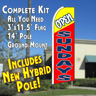OPEN SUNDAYS (Yellow/Red) Flutter Feather Banner Flag Kit (Flag, Pole, & Ground Mt) Review