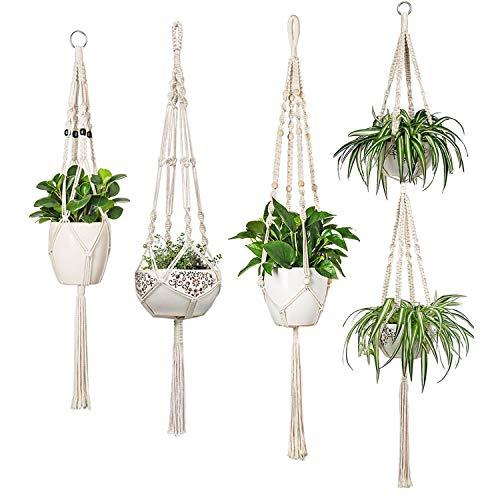 Mkono Macrame Plant Hangers Set of 4 Indoor Hanging Planter Basket Different Style Flower Pot Holder Boho Home Decor