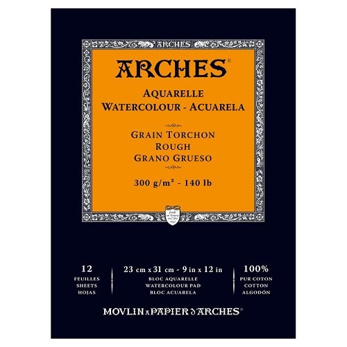 Winsor & Newton 1795102 Arches Watercolor Rough Paper Pad 140#, 12 Sheets