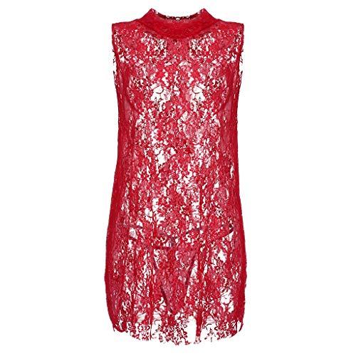 - Fitfulvan Women Sexy Sheer Lace Babydoll Dress Lingerie Sleeveless Mini Nightdress Slim and Elegant Openwork Sleepwear Red