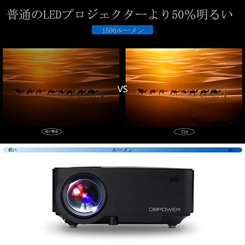 DBPOWER T20 1800 Lumens LCD Mini Projector, Multimedia Home Theater Video Projector Support 1080P HDMI USB SD Card VGA AV for Home Cinema TV Laptop Game iPhone Android Smartphone with HDMI Cable Black by DBPOWER (Image #1)'