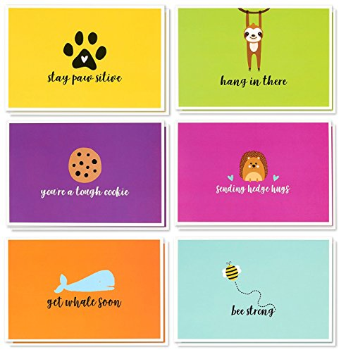 Well Childrens - Sympathy Cards Box Set - 48 Pack Sympathy Cards for Kids, 6 Cute Animal Designs, Get Well Cards Bulk, Envelopes Included, 4 x 6 Inches