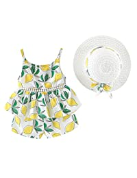 ��������Toddler Baby Kids Girls Floral Fruit Strap Tops Shorts Outfits Hat Casual Set