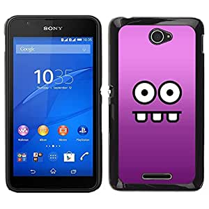 EJOY---Cubierta de la caja de protección para la piel dura ** Sony Xperia E4 ** --Cara divertida