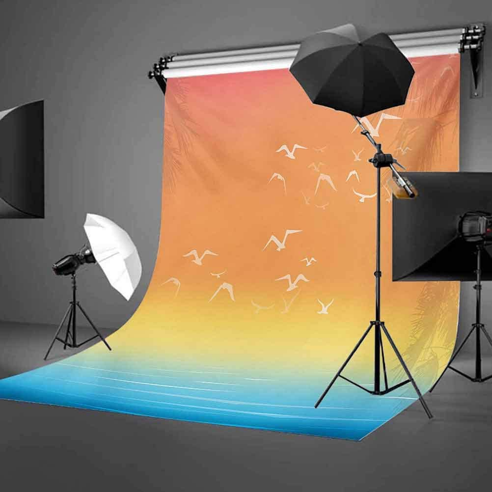 Seagulls 10x12 FT Backdrop Photographers,Tropical Island Sunset Print with Setting Sun Sea Palm Trees and Birds in Flight Background for Party Home Decor Outdoorsy Theme Vinyl Shoot Props Multicolor