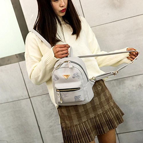 Bag Girl Leather Backpack Style Bag Preppy Solid School Shoulder Small Bag Gray Fashion Women Zipper xwYOBnF1q