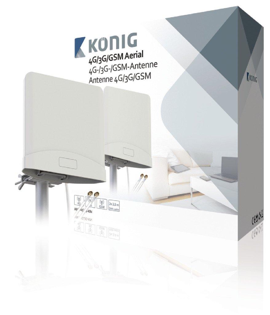 Kö nig ANT-4G20-KN Antenne 4G/3G/GSM avec 2 câ bles 2, 5 m 5m König