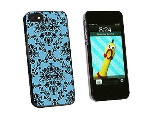 Graphics and More Damask Elegant Blue Black Snap-On Hard Protective Case for iPhone 5/5s - Non-Retail Packaging - Black