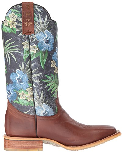 Scarpe Blu Telo Da Uomo Blu Hawaii Western Boot Marrone