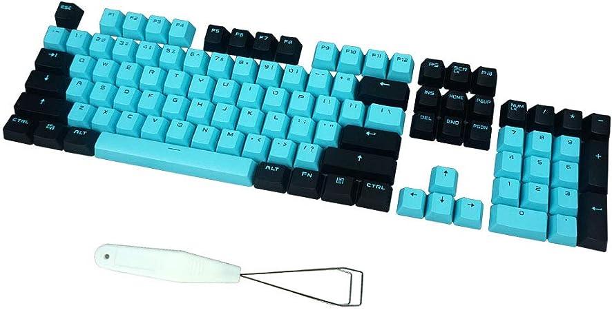 104 Teclas ABS Teclas Cherry MX Azul interruptores Teclas con Extractor de Teclas para DIY Teclado mecánico (Negro Azul)