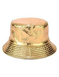 Joylife Metallic Bucket Hat Trendy Fisherman Hats Unisex Reversible Packable Cap