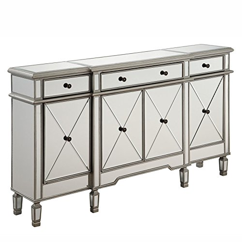 Elegant Lighting 3 Drawer 4 Door Cabinet in Silver Clear 60'' x 14'' x 36'' by Elegant Lighting