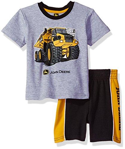 [John Deere Baby Boys' Construction Short Set, Heather Grey/Black, 24M] (Dump Truck Short)