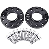 ZY Wheel 2pcs 20mm (3/4'') Black Hubcentric 5x120 Wheel Spacers (72.6mm bore) with 10pc Silver Lug Bolts (12x1.5) for Many BMWs E36 E46 E90 E92 E60 318i 323i 325i 328i 330i 335i 525i 545i Z3 Z4 Z8 M3
