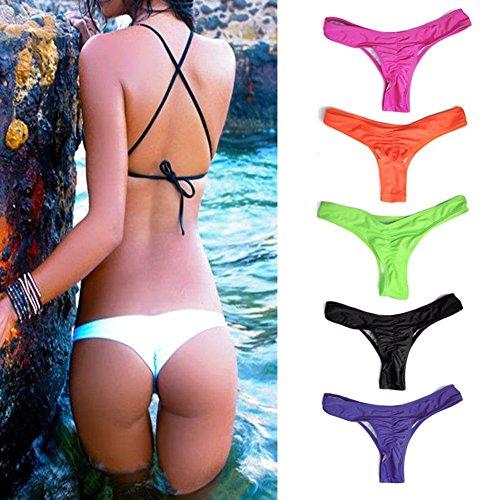 Donna Thong Bikini Bottom Slip String Pantaloncini da bagno Brasiliano Bikini Perizoma Costumi da bagno a vita bassa biancheria intima 7 Colori S M L XL Kootk