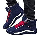 Mens Snow Boots Casual Lace up Sneakers Ankle High Top Winter Shoes with Velvet Lining (Blue, US:9.0)