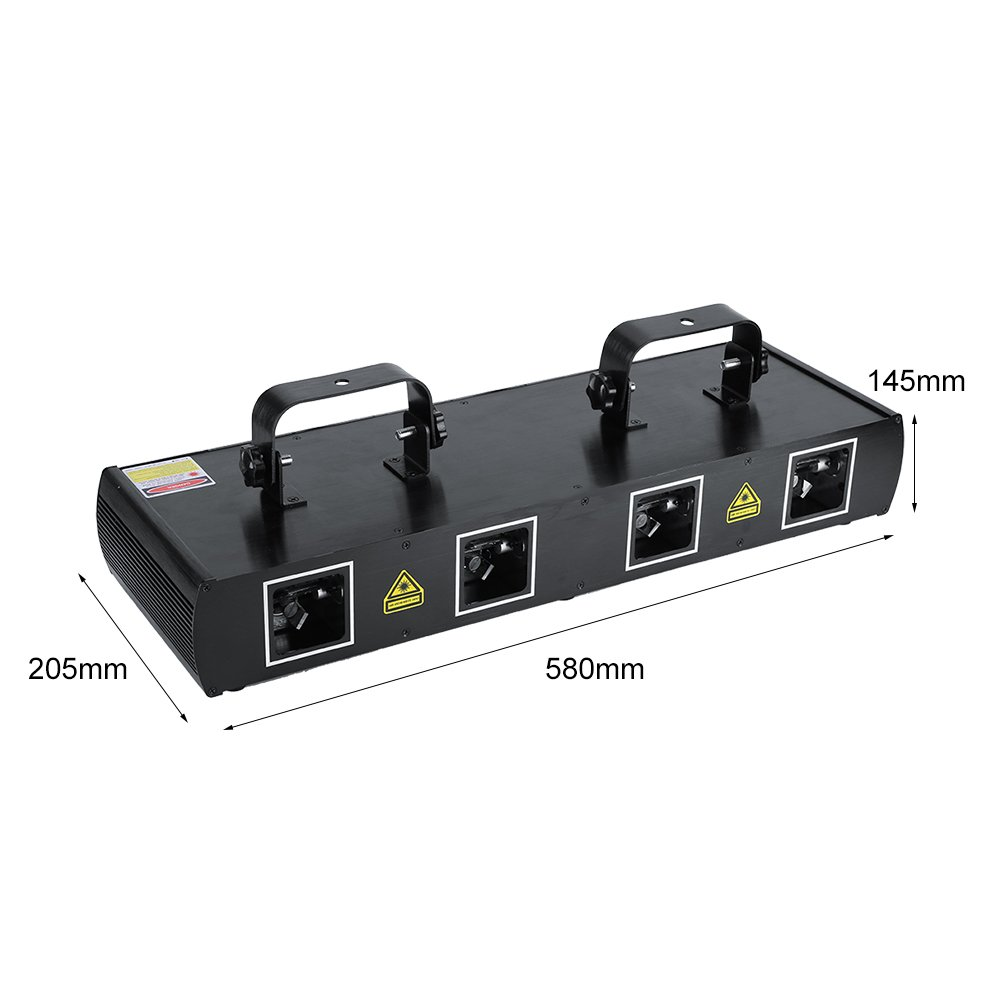 Sound Activated Stage Lights,4 Lens 30W Stage Light 100 Multi-Patterns 7CH DMX512 Controlled Disco DJ Party Effect Lights RGPY US Plug 110V Black