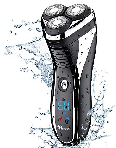 Hatteker Electric Shaver Rotary Razor Men Cordless Beard Trimmer Pop-Trimmer Waterproof