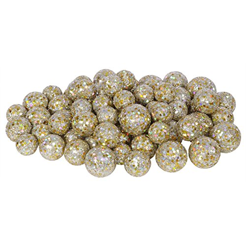 Sequin Ball - 60ct Champagne Sequin and Glitter Christmas Ball Decorations 0.8