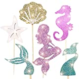Mermaid Party Decoration Supplies-Adorable Glitter Mermaid Theme Cupcake Topper,Perfect for Birthday Party ,Baby Shower,Mermaid Theme Party,48pc(Mermaid Tail,Starfish,Mermaid,Shell)