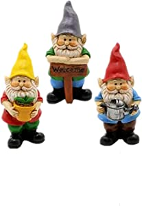 MUAMAX Miniature Gnome Figurines 3 Sets Small Gnomes Sets for Fairy Gardens Gnomes Gifts