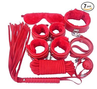 Premium PU Leather 7 Pcs Restraint Set Whip, Handcuffs, Blindfold, Gags, Collar, Leash, Choker (Red)