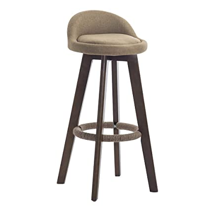 Furniture 73cm Creative Modern Design Solid Wood Bar Chair Pu Leather Soft Seat Cushion Low Backrest Coffee Counter Leisure High Footstool