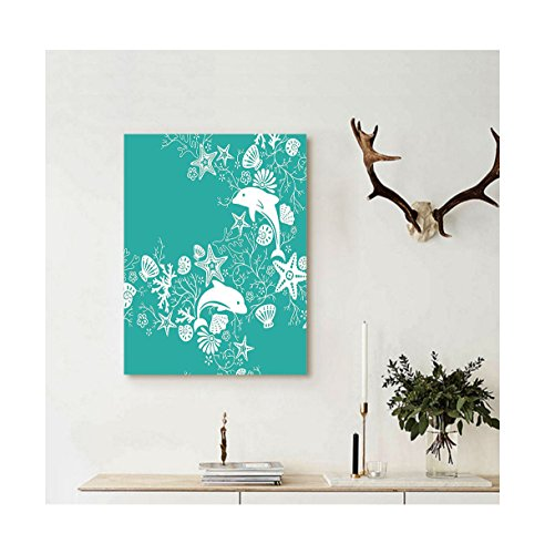 - Liguo88 Custom canvas Teal Sea Animals Decor Dolphins and Flowers Sea Floral Pattern Starfish Coral Seashell Wallpaper Pattern Wall Hanging Art Teal White