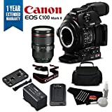 Canon EOS C100 Mark II Cinema Camera with Dual Pixel CMOS AF & EF 24-105mm f/4L IS II USM Zoom Lens Kit International Version (No Warranty)- Bronze Plus Level Bundle