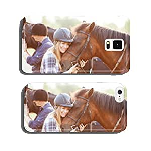 Woman hugging horse and expressing joy and heppines cell phone cover case iPhone5